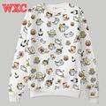 Cat impreso mujeres camiseta neko atsume sudadera pullover harajuku tops cat patio trasero largo manga japoneses kawaii abrigo wxc