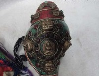 Nepal Buddhism trumpet shell inlay gemstone coral turquoise 5 Buddha Conch Horn