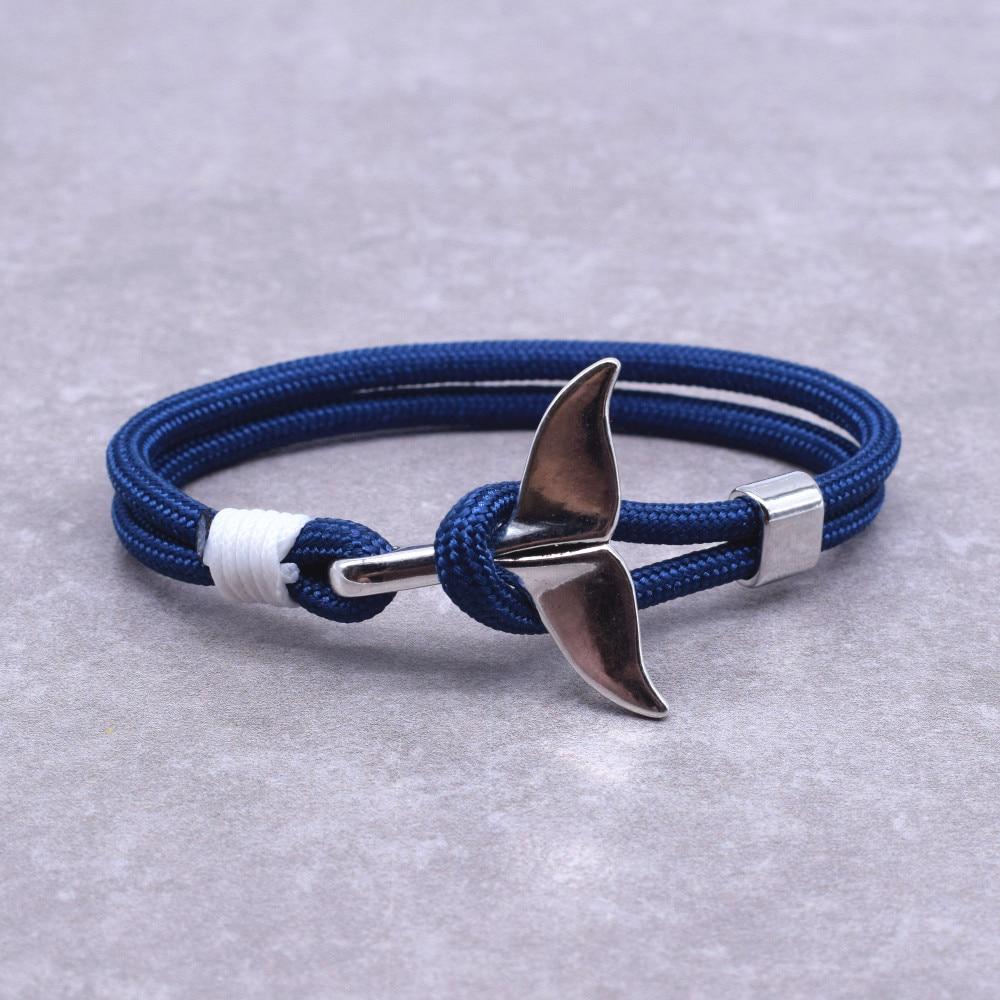 New Arrival Ocean Fashion Jewelry Whale Tail Charm Anchor Bracelet Men Women Nautical Survival Rope Chain Wrap Bracelet Hot