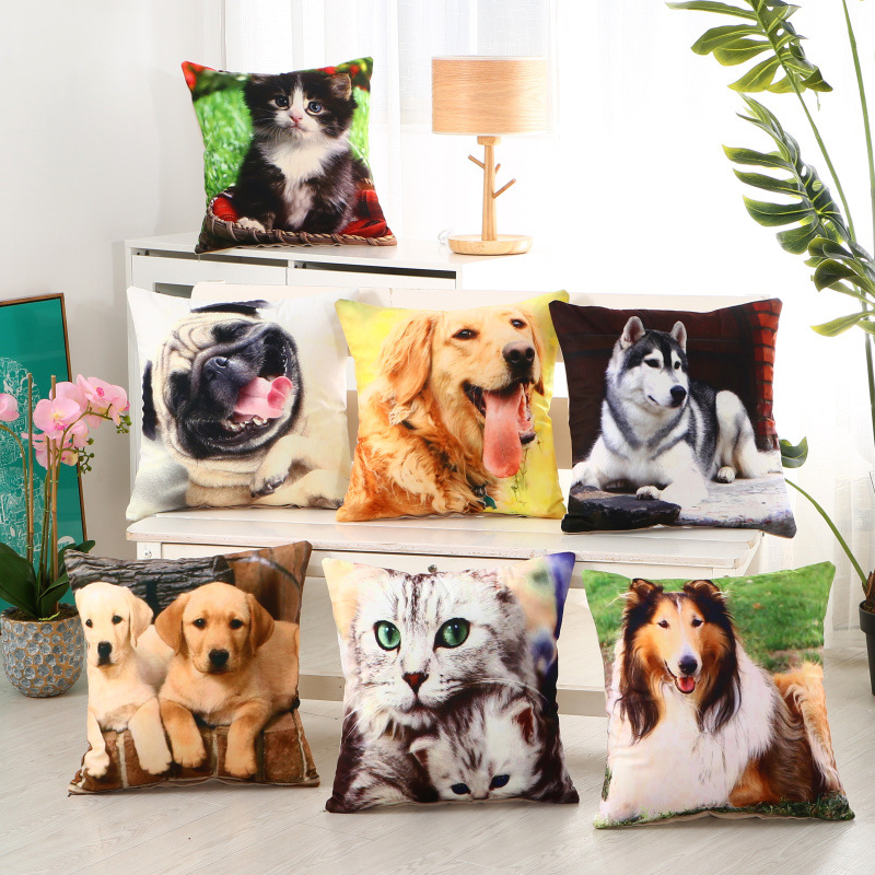 Cushion Cover Table & Sofa Linens The Cheapest Price Dog 45cm X 45cm Creative Pattern Cushion Cover Comfortable Cotton Pillow Cover Cushion Case Sofa Bed Home Decorative Ma22