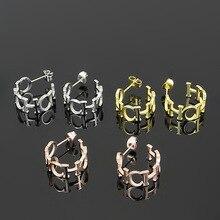 fashion ch letter stud earrings for women