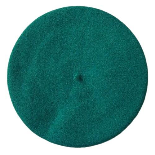 Одноцветный женский берет для девочек, французская художница, теплая шерстяная зимняя шапка, шапка 4XQT - Цвет: Lake Blue