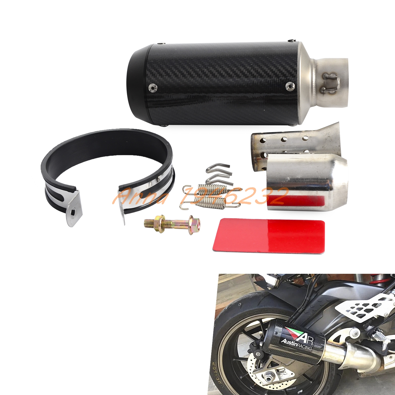 High performance motorcycle carbon fiber slip-on exhaust muffler For Scooter Motorcycle ATV Dirt Bike Quad length 360mm id 51mm carbon fiber motorcycle exhaust muffler pipe with silencer case for cb600 mt07 yzf duke fz6 atv dirt bike