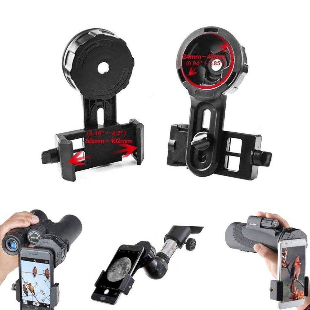 Teléfono Universal rápido fotografía soporte adaptador conector para iPhone telescopio binoculares Monocular manchado microscopio
