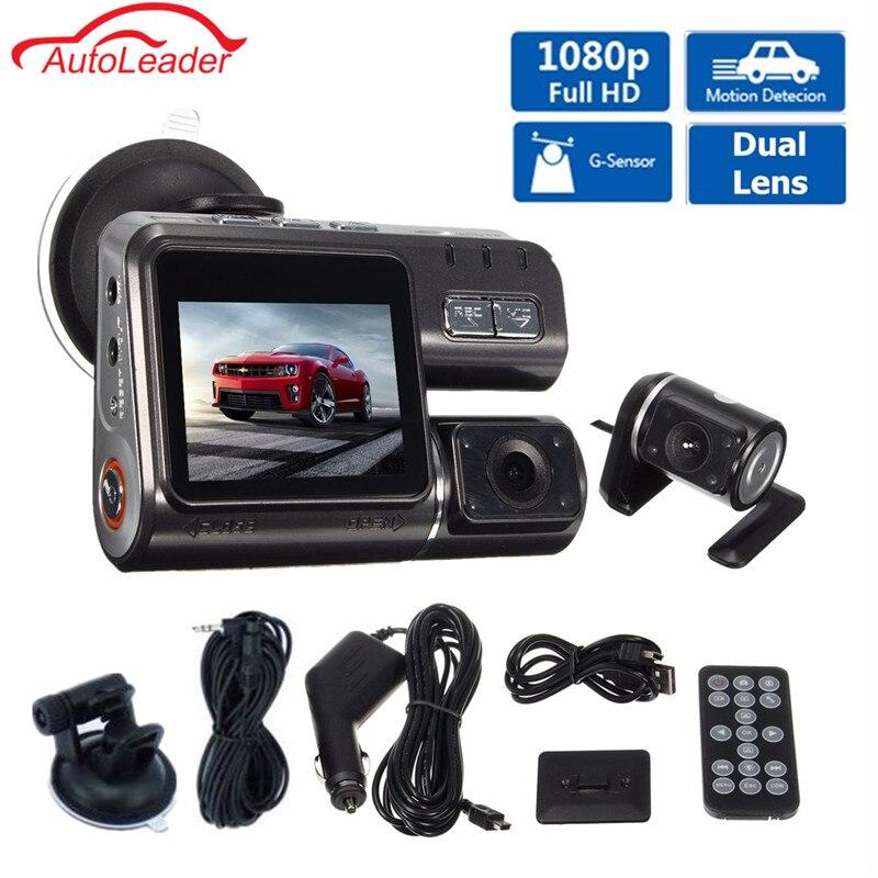 Двойной объектив Видеорегистраторы для автомобилей Камера I1000 Full HD 1080p 2,0 ЖК-дисплей регистраторы + 8 ИК светодио дный свет Ночное видение H.264...
