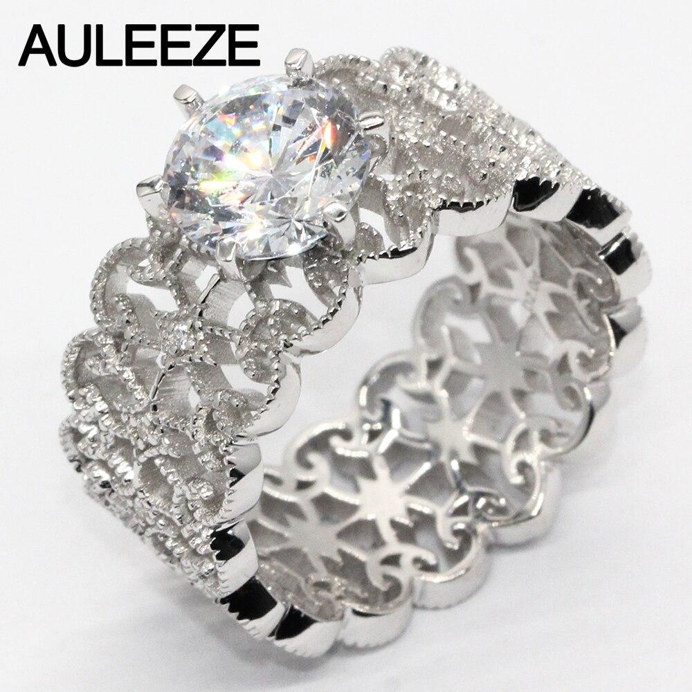 Винтаж леди 2 карат Имитация Алмазный Свадьба Обручение кольцо 925 серебряное кольцо для Для женщин Серебряный Ювелирные украшения