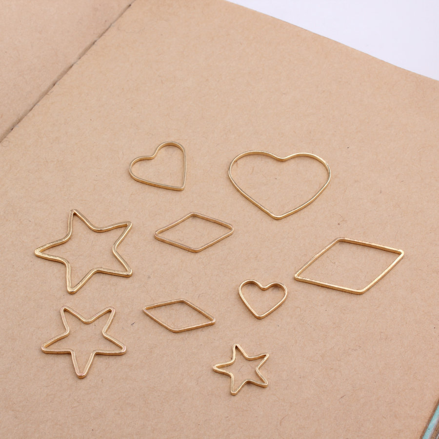 Wholesale 100PCs Simplify Geometric Graphic DIY Jewelry Findings Hollow Out Star Heart Horse Eye Floating Earring Charm Craft