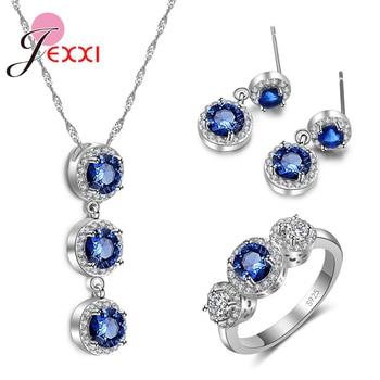a8cc76689c4b JEXXI 3 piezas conjuntos de joyas para mujeres boda Real 925 plata  esterlina collar pendiente anillos accesorios de azul CZ cristales