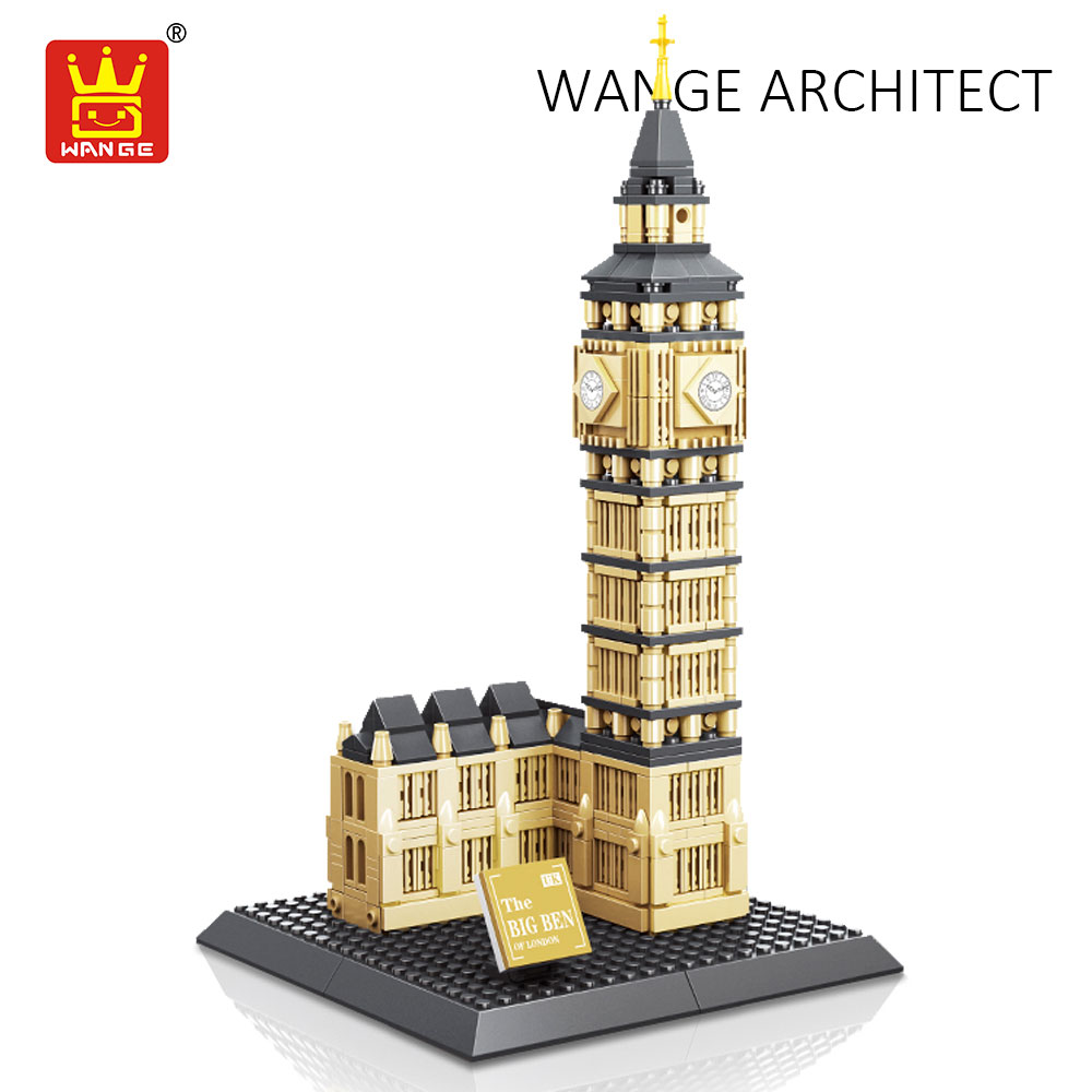 WANGE Building Blocks Compatible Bricks Elizabeth Tower Big Ben London Plastic Assembly Toys for Children Architecture Toy Kids loz architecture toy chrysler building model nano pixels diamond single sale building blocks bricks toys plastic assembly 9381