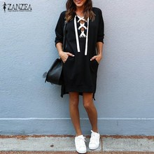 2017 Fashion ZANZEA Autumn Women Long Sleeve Lace-up Black Long Sweatshirt Mini Robe Loose Split High Low Hem Vestido Plus Size