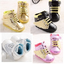 2016 Spring Cute Golden Wing Soft PU Black Leather Baby Boys Girls Fashion Sneakers Infant Bebe Indoor Crib Shoes Toddler Shoes