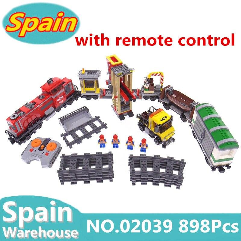 รถไฟเมือง Series 02009 02010 02039 ด้วยรีโมทคอนโทรล RC Train Building block ชุดของเล่น Technic Cargo Train 60051 อิฐ-ใน บล็อก จาก ของเล่นและงานอดิเรก บน   1