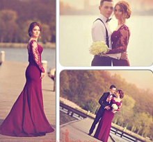 2015 Mermaid Burgundy Prom Dresses with See Through Long Sleeves Sweetheart Lace Appliques Floor Length robe de bal photocall burgundy see through long sleeves frilling details zip mini dress