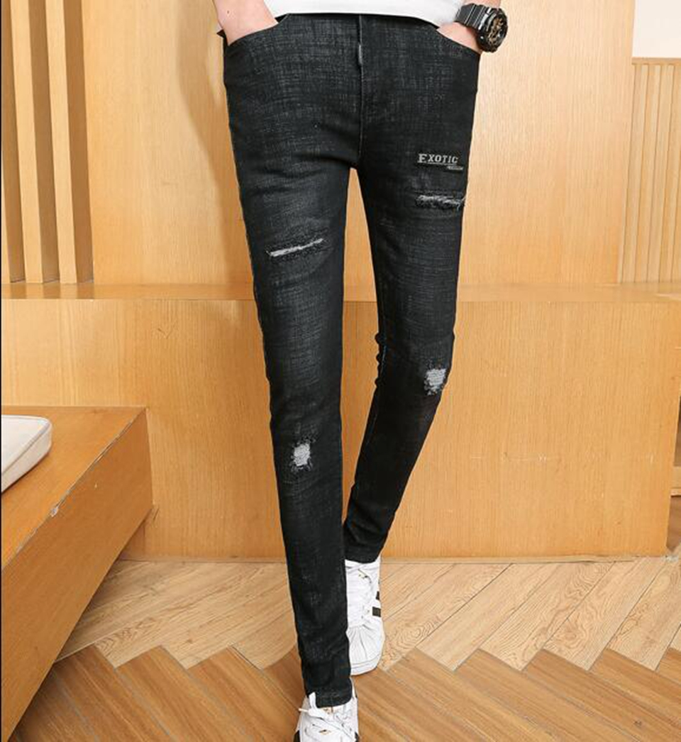Mens spring and autumn fashion leisure Korean version of the new slim student trend to wear black jeans with small feet / 28-32