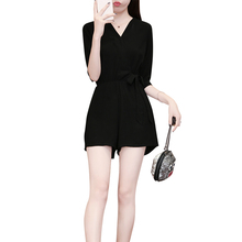 aa0ad4bd9a9d Pengpious 2018 summer preppy style women s chiffon jumpsuits tall waist  short sleeve v-neck office