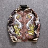 Makuluya Yokosuka Reversible Coat Street Style Women Men Dragon Tiger Printed Embroidery Baseball Casual Pilot's Jacket Coats QW