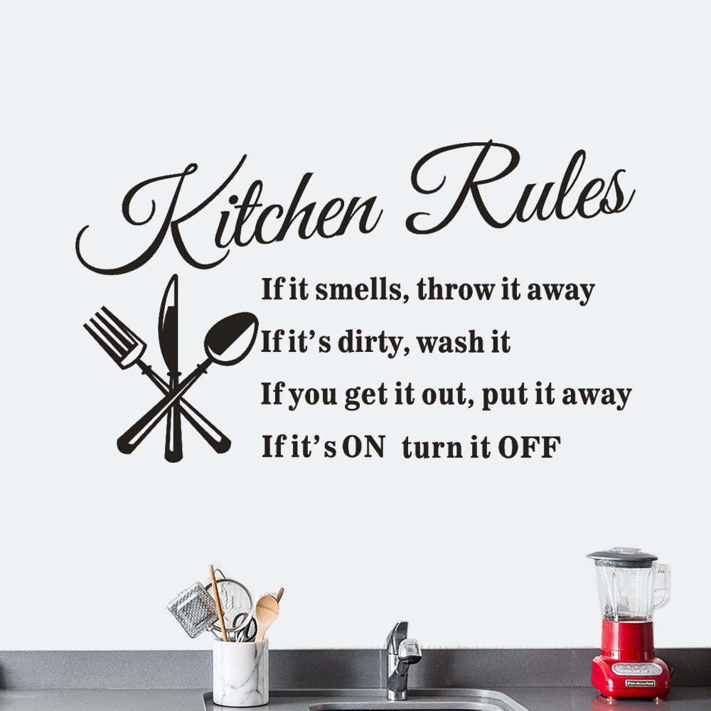 2018 High Quality Remove Kitchen Rules Restaurant Wall Sticker Decal Mural DIY Home Decor#28