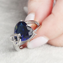 Diamond shaped heart ring, European and American natural cut blue Amethyst fashion jewelry, ladies accessories.