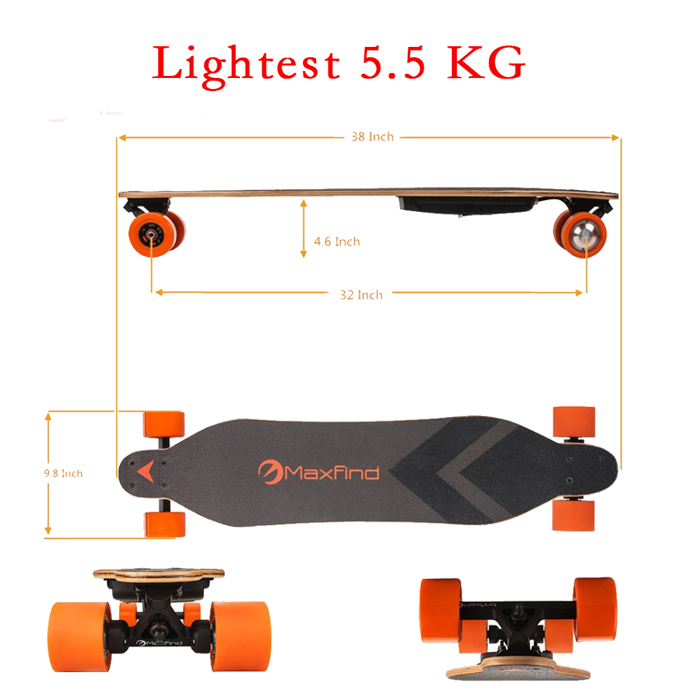 Maxfind cheap Four Wheels RC Electric longboard Skateboard with dual motor on