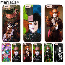 MaiYaCa Alice In Wonderland Johnny Depp Luxury Fashion Phone Case for iPhone 8 7 6 6S Plus X 10 5 5S SE XR XS XS MAX Coque Shell(China)