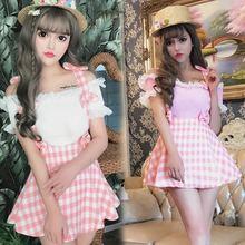Женская клетчатая мини-юбка трапециевидной формы с бантом на лямках, милые японские мягкие модные розовые юбки на подтяжках JSK