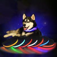 Dog Collar Reflective Collar Leash Lead LED Solar Energy USB Charging Adjustable Fashion Luminous Comfortable With