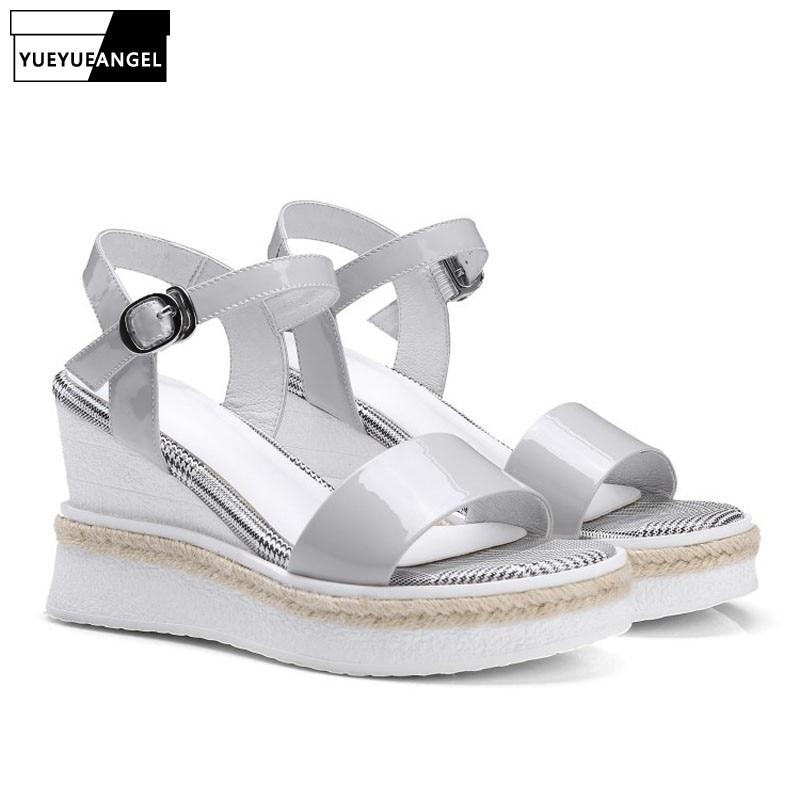 Sandalias Los Plataforma Mujeres Genuino Moda Niñas Alta Casuales Pies Zapatos De Calidad Abierto Cuero Tacones Verano La Las Dedos black Grey Cuñas wx0Cdgtq