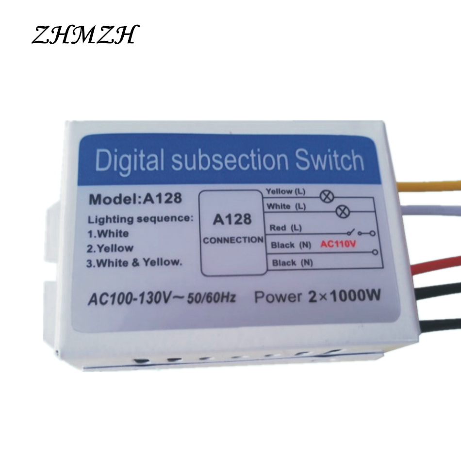 110v 2 Ways 3 Digital Subsection Switch For Ceiling Light Connecting Three Lights And A Supply Cable At Road Independence Control Section Piecewise In Switches From