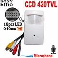 420TVL Night Vision Motion Detector de Movimentos Pir Câmera com 940nm Sony CCD Segurança CCTV Interior câmera pir PIR Estilo mini câmera