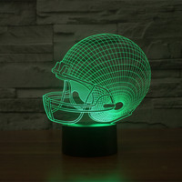 Rugby Cap Colorful Acrylic Light Touch Round Bottom Vision Stereo Light Gradient 3D Light Night Light
