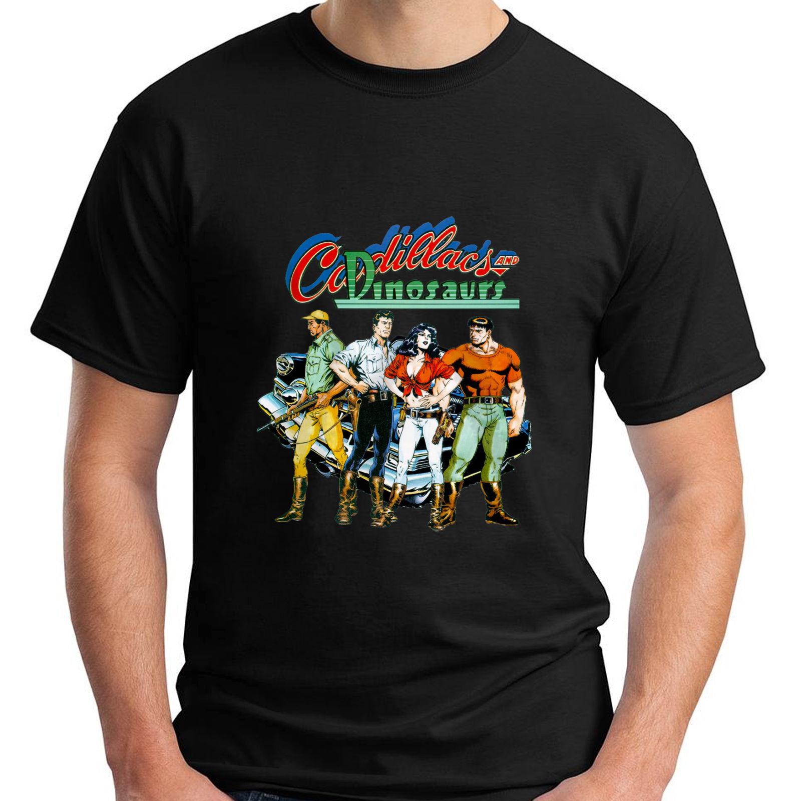 Cadillac и динозавр Ретро видео игры короткий рукав черный Для мужчин футболка брендовая хлопковая Для мужчин Костюмы мужской Slim Fit футболки