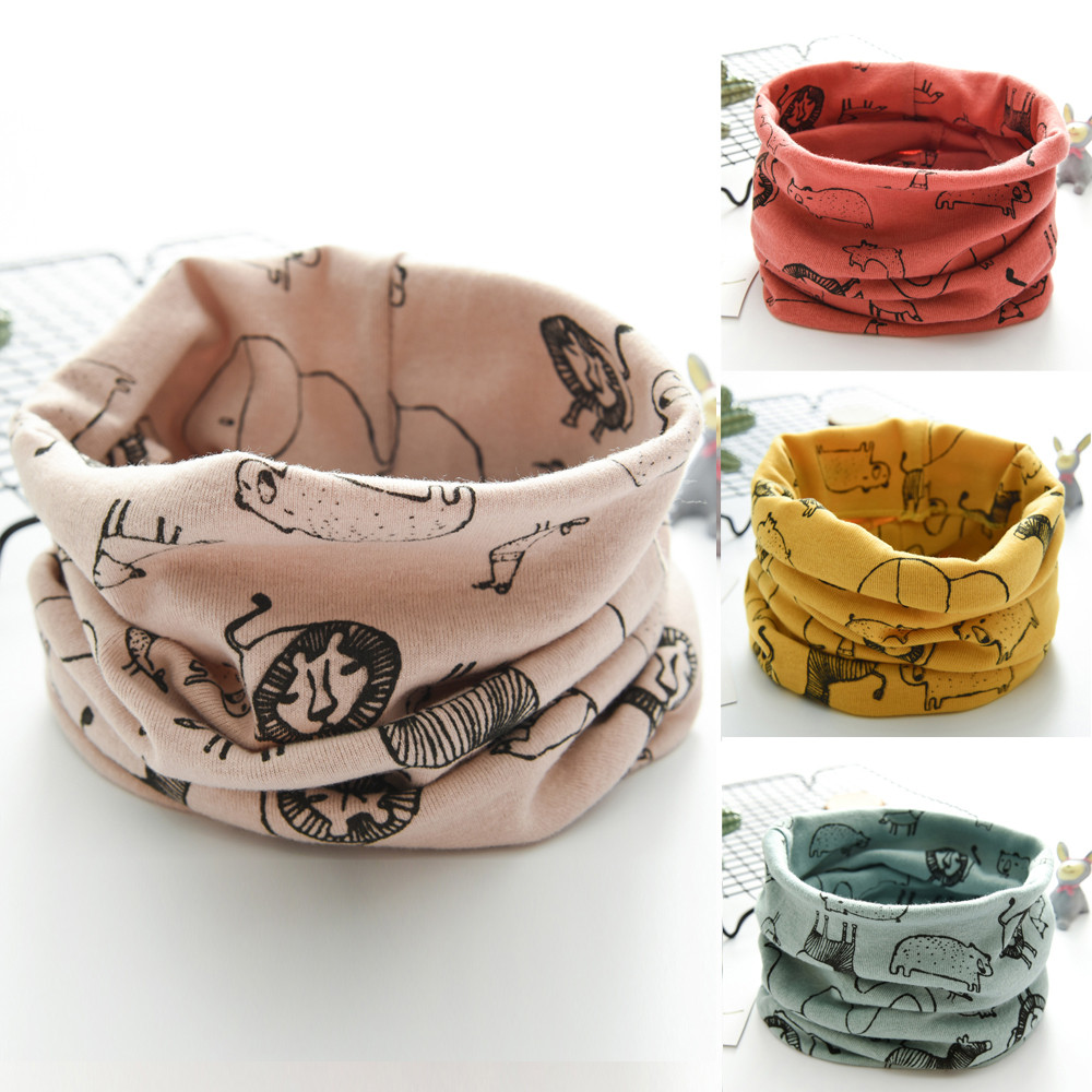 Children's LIC New Autumn Winter Boys Girls Baby Tractors Scarf Cotton O Ring Neck Scarves Winter Scarf Baby Children Wool Ring