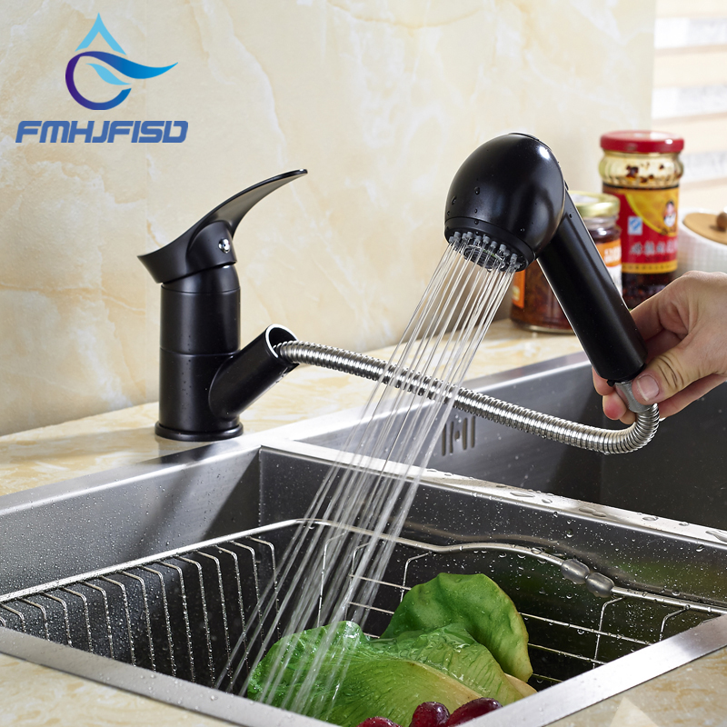 Kitchen Faucet with Pull Out Sprayer Oil Rubbed Bronze Deck Mounted Hot Cold Water Taps
