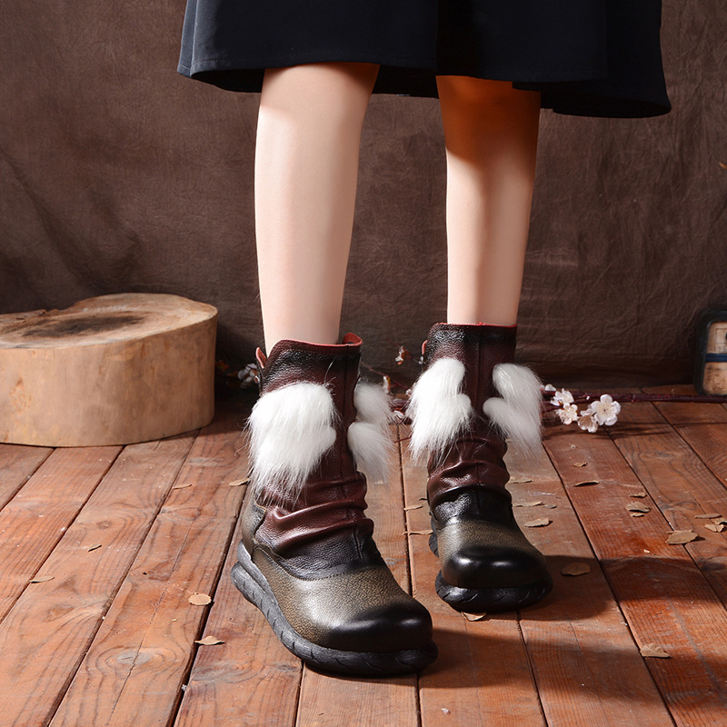 2016 high end winter cotton boots high heels wedges national trend snow boots tassel boots handmade genuine leather women boots