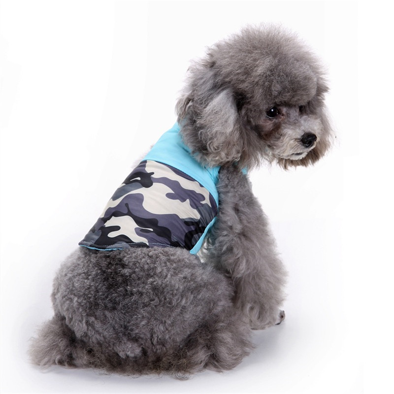 3f2a6e094e212 Simple Pet Dog Coat 100% Cotton Winter Outdoor Sports Warm Fashion Jacket  Blue Camouflage Vest for Small and Medium Dog Clothes