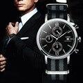 SINOBI hombres Deportes Cronógrafo Relojes de Pulsera Militar de LA OTAN de Nylon Correa de Cuero Pulsera Ginebra Cuarzo reloj de Acero Macho 007