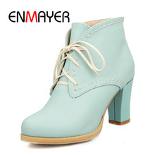 ENMAYER 2020 Ankle Strap Lace up Boots Spring And Summer Footwear High Quality 34-43 Woman Casual Shoes Square Toe Boots WHY200 enmayer black motorcycle boots shoes woman square heels round toe lace up spring and autumn high quality ankle boots for women