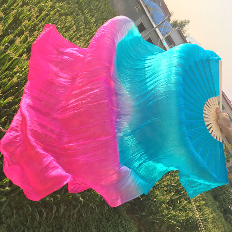 New Oriental Dancing 100% Real Silk Bamboo Natural Fan Veils Stage Performance Props Silk Fans Free Shipping High Quality