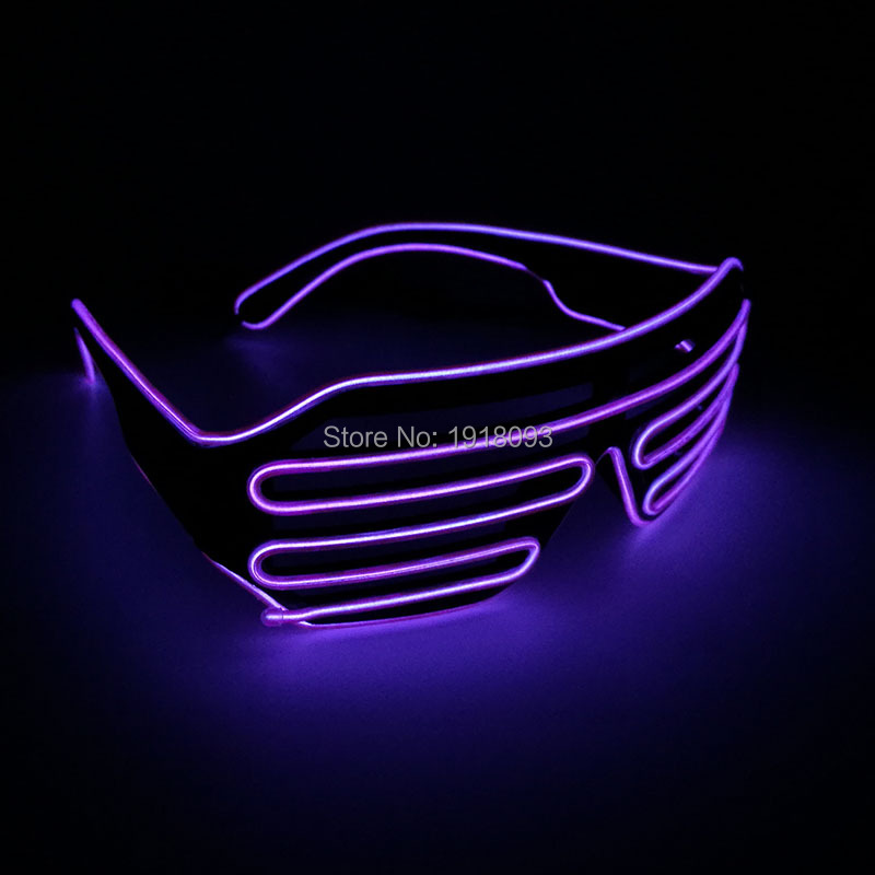 2017 Newstyle DC-3V Color Purple EL Wire Neon LED Light Up Shutter Glasses Rave Costume Festival Party Lighting Supplies