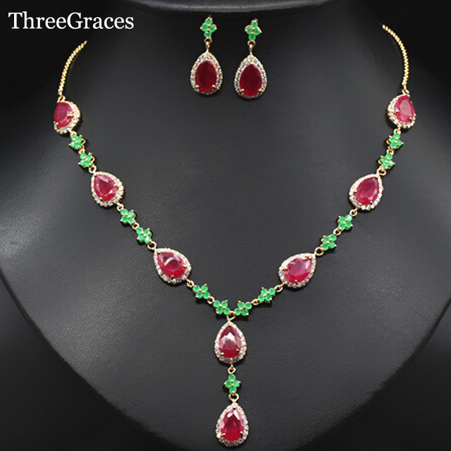 ThreeGraces Women Costume Jewelry Gold Color Bridal Green Red