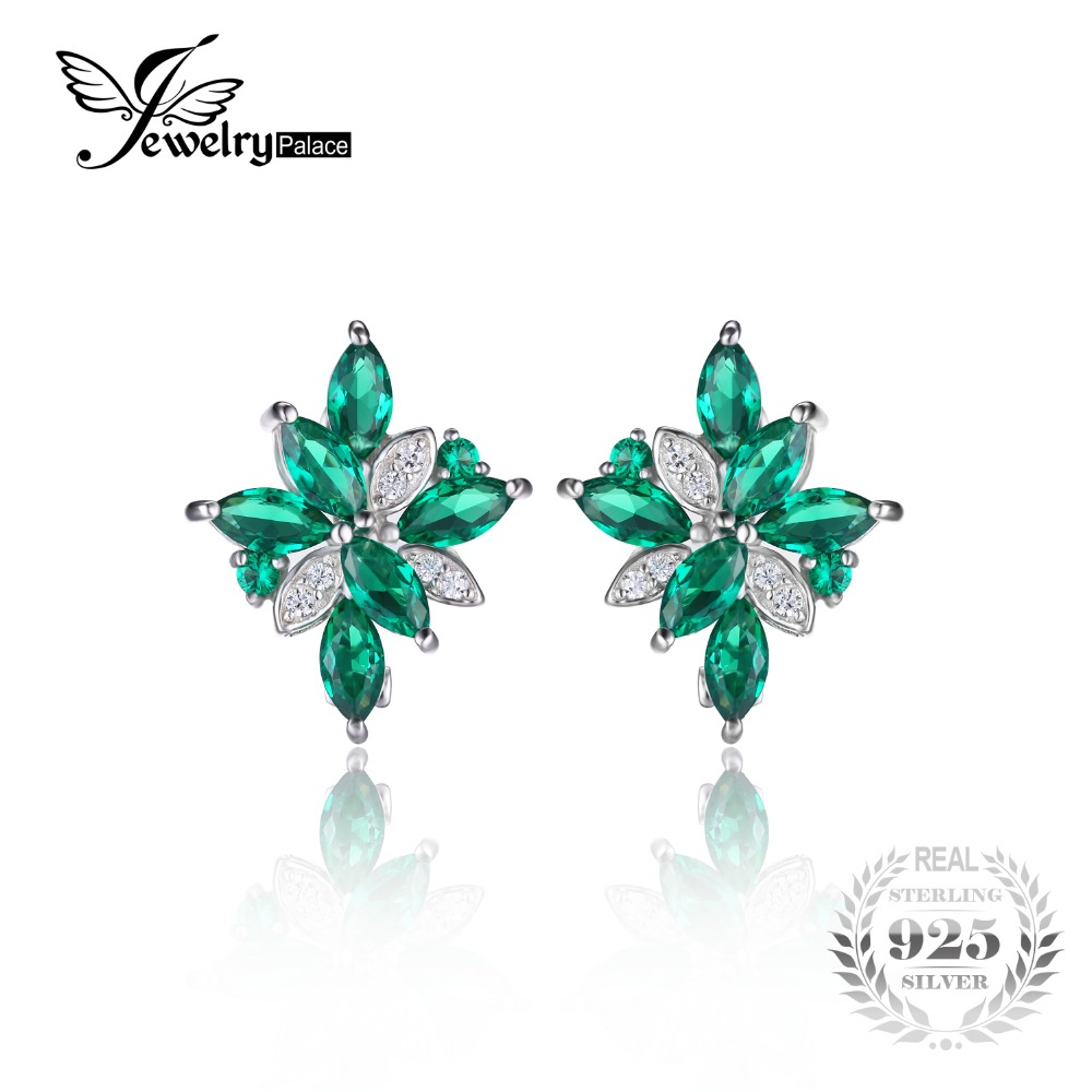 JewelryPalace Flower Shape 2 5ct Green Nano Russian Created Emerads Clip On Earrings 925 Sterling Silver
