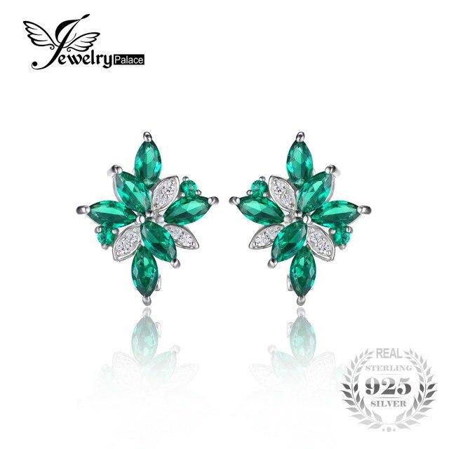 JewelryPalace Flower Shape 2.5ct Green Nano Russian Created Emerads Clip On Earrings 925 Sterling Silver Jewelrly Women Earrings
