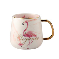 3 Pcs Pink Heart Ins Flamingo Nordic Marble Cup Saucer Set Office Afternoon Tea Mug Couple's Cup