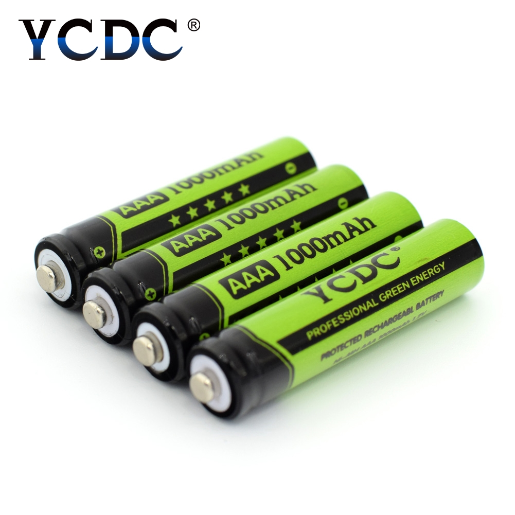 YCDC 4x NI-MH AAA Rechargeable Batteries 1.2V 1000mAh NIMH Battery for 1.2 v Toy LED Flashlight Battery Whit Batery Box Case ycdc 4pcs aa rechargeable battery 2000 mah for charger 1 2v ni mh flashlight rechargeable batteries with batery box