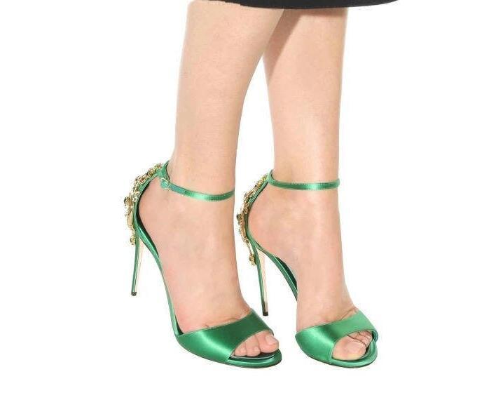 10cm Hebilla Señoras Lujo 10cm Sandalias Cristal Peep Negro Sexy Talón Toe Tacones verde Mujeres Tobillo Flores Satén Del green Moda Altos Black Estilete qBw8axPz