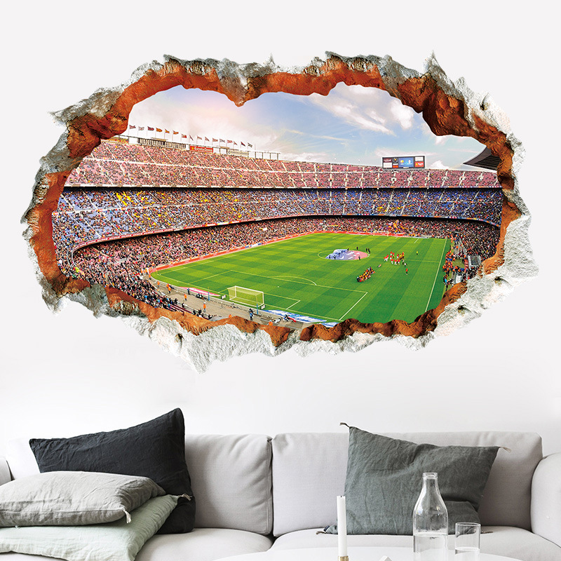 3D Hole World Football Stadium Decoration Wall Stickers For Soccor Fans Bedroom Living Room PVC Removable Fashion Art Decals