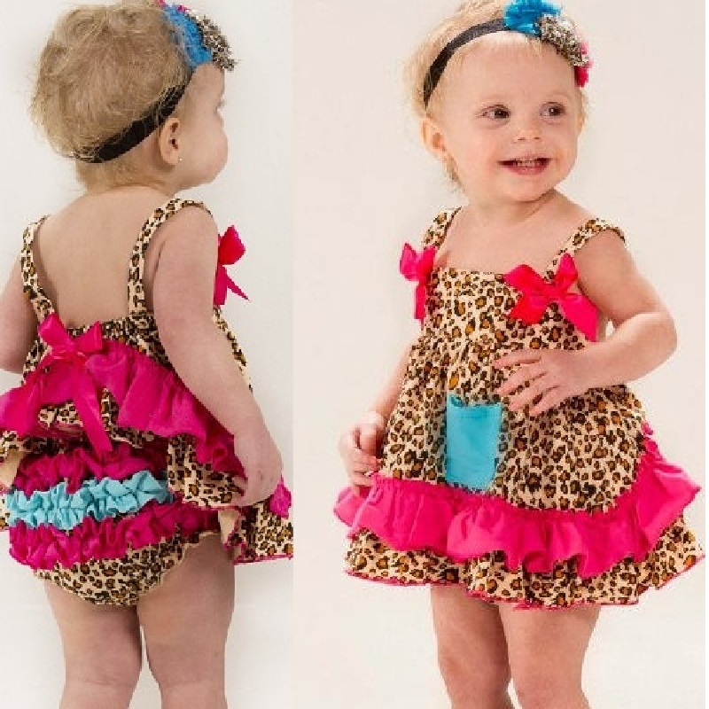 leopard Baby Girls Dress bebe girl clothing Pants newborn Clothes Sets summer baby born jumpers