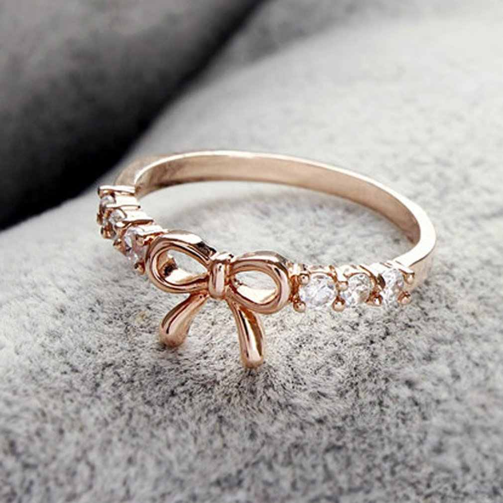 New Arrival Rings Jewelry Simple Crystal Bow Ring Beautiful Butterfly Shape Jewelries Accessories Engagement  Wedding Rings