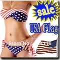 YY9 ON SALE swimsuit swimwear Women Sexy bikini STARS STRIPES USA Flag PADDED TWISTED BANDEAU swim suit tube swim wear