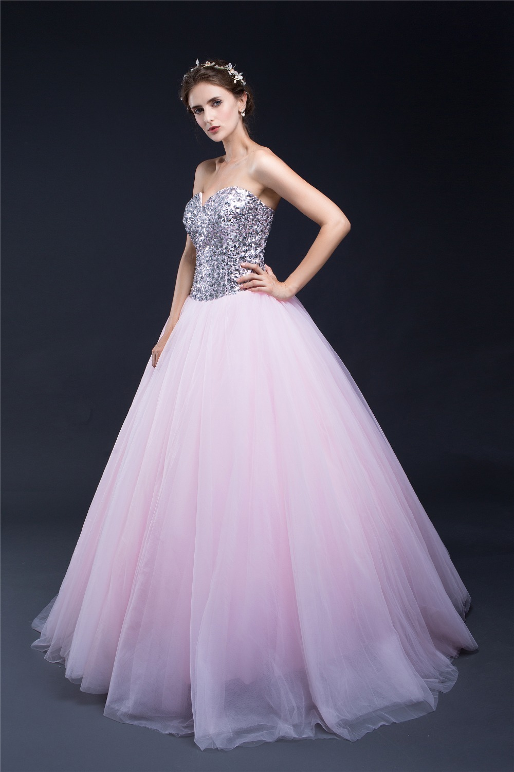 VanMe Women Pink Prom Ball Gown Dresses 2017 Stones And Sequins ...